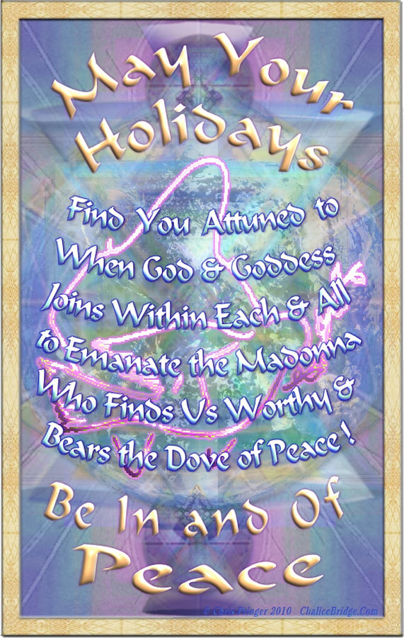 Solstice Digital Art - Madonna Dove And Chalice Vortex Over The World Holiday Art I With Text by Christopher Pringer