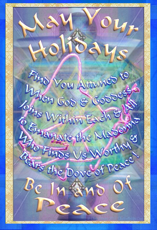 Solstice Digital Art - Madonna Dove And Chalice Vortex Over The World Holiday Art With Text by Christopher Pringer