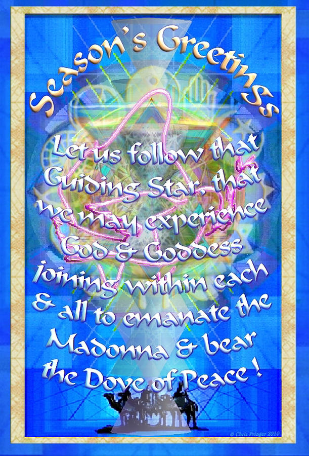 Christmas Card Digital Art - Madonna Dove Chalice-synthesis And Logos With Text by Christopher Pringer