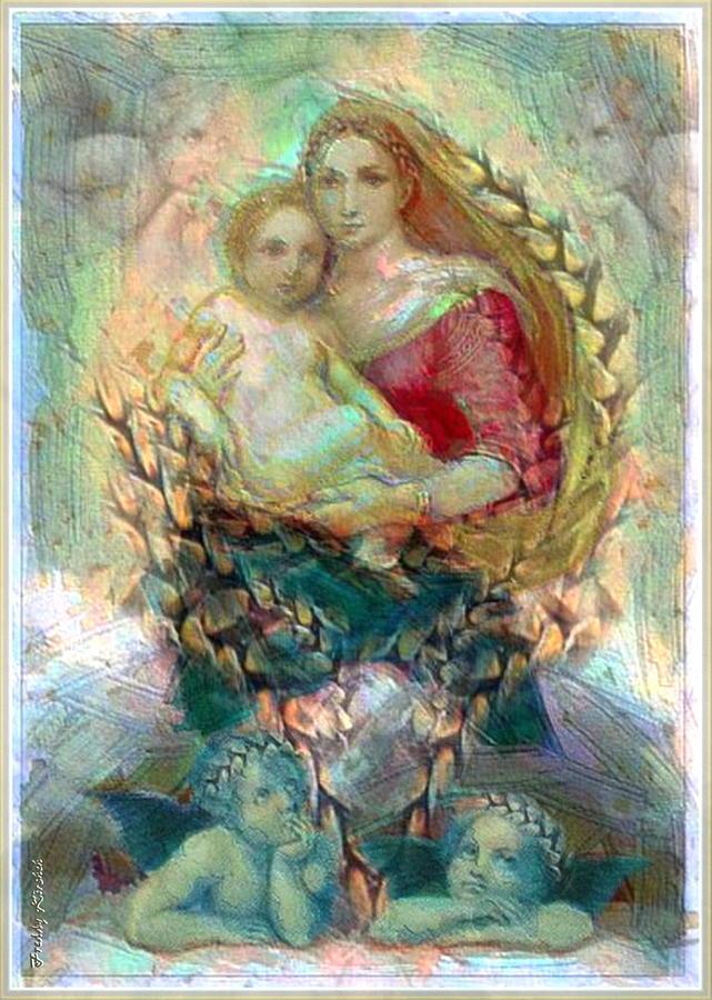 Jesus Mixed Media - Madonna Of Raphael 1 by Freddy Kirsheh