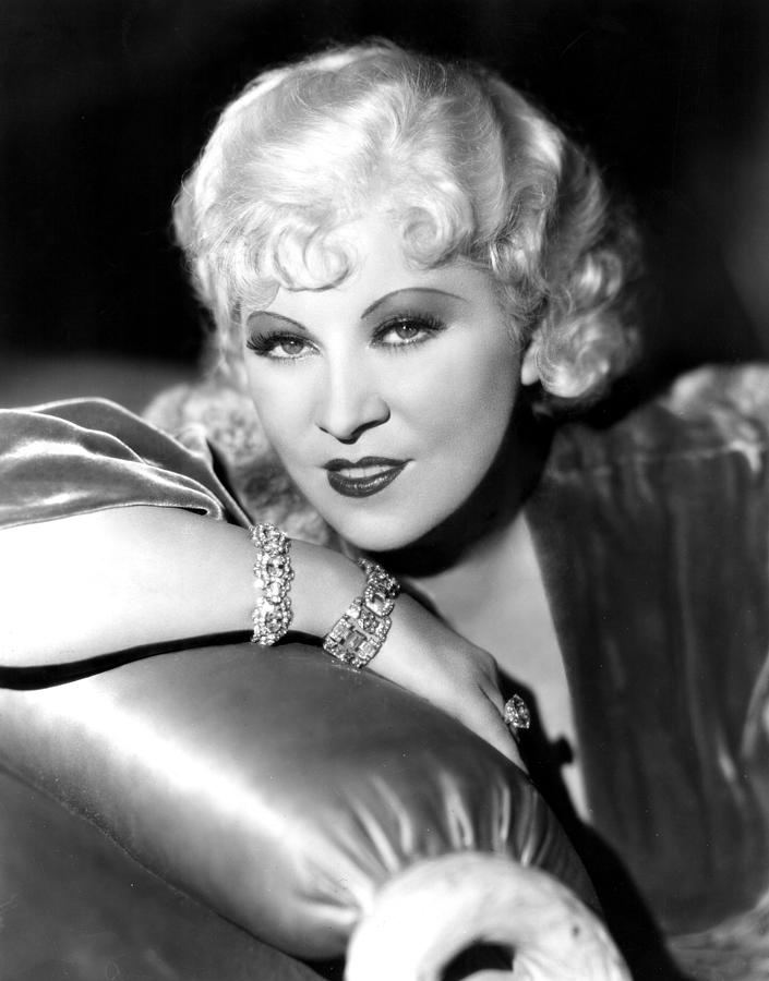 Diamond Bracelet Photograph - Mae West, Portrait by Everett