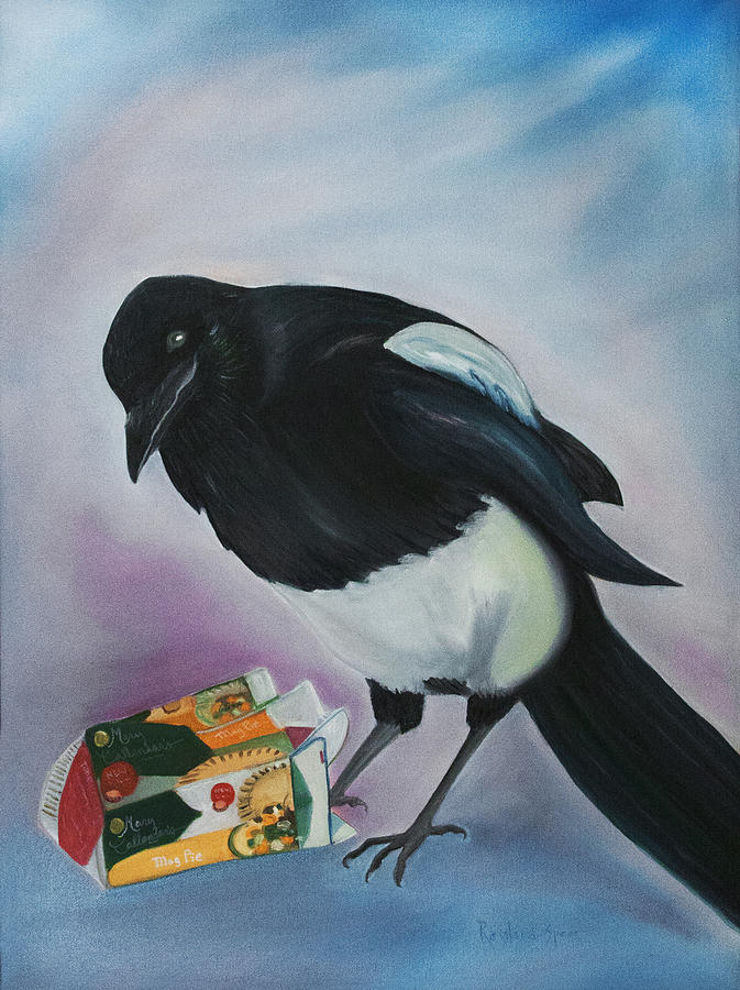 Magpie Painting - Mag Pie by Amy Reisland-Speer