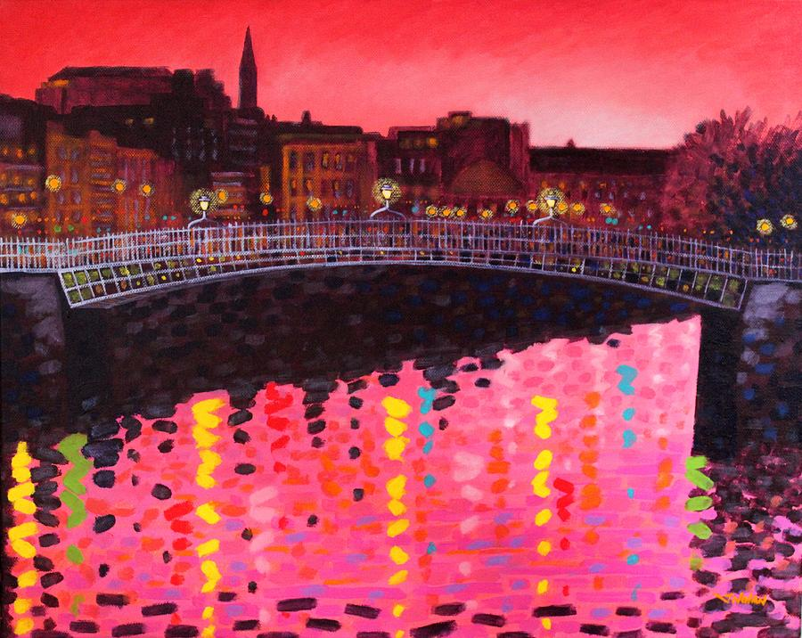 City Scape Painting - Magenta Evening Dublin by John  Nolan
