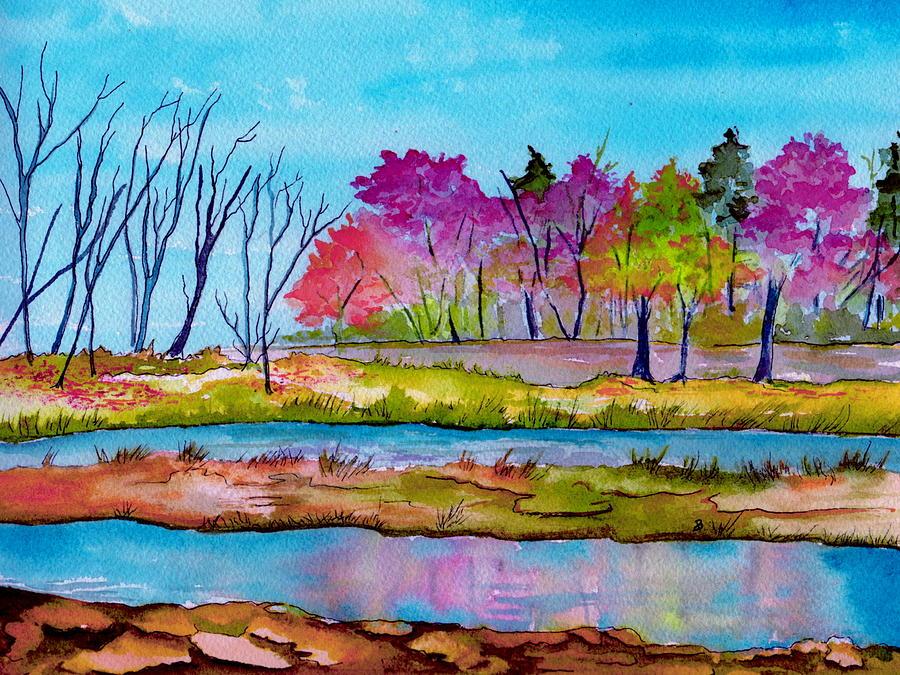 Landscape Painting - Magenta Woods by Brenda Owen