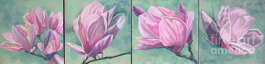 Plants Painting - Magnolias Times 4 by Joan McGivney