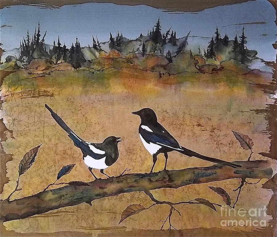 Birds Tapestry - Textile - Magpies In The Last Of Autumns Leaves by Carolyn Doe