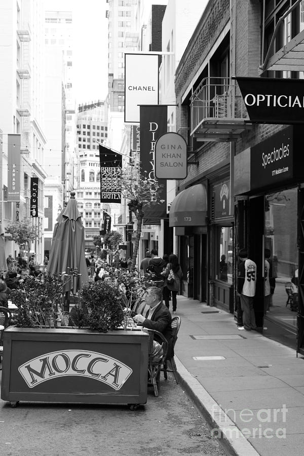 San Francisco Photograph - Maiden Lane San Francisco California - 5d19376 - Black And White by Wingsdomain Art and Photography