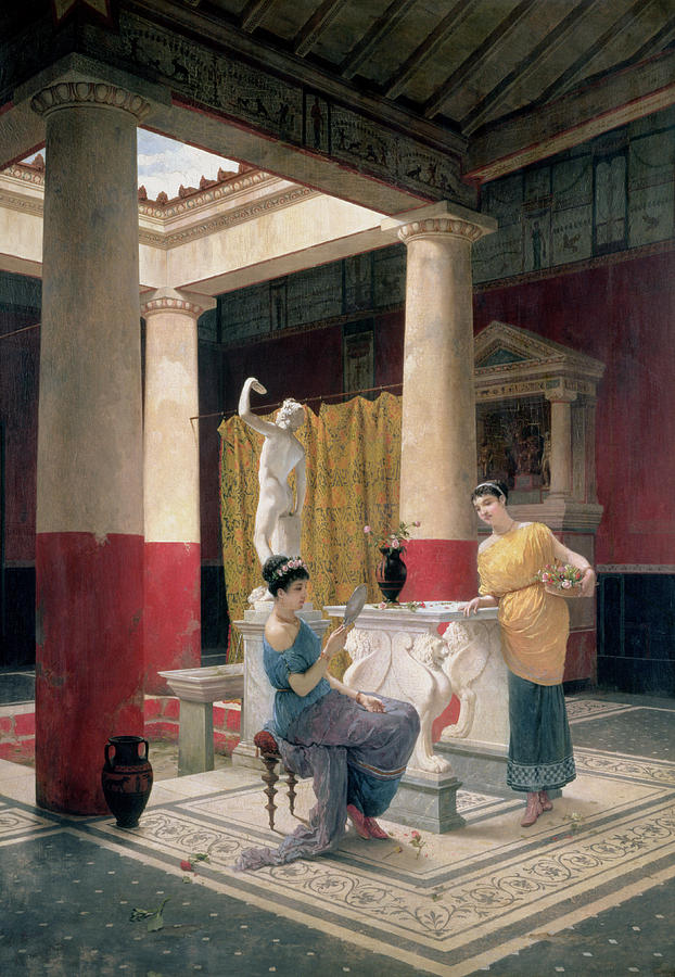 Luigi Painting - Maidens In A Classical Interior by Luigi Bazzani