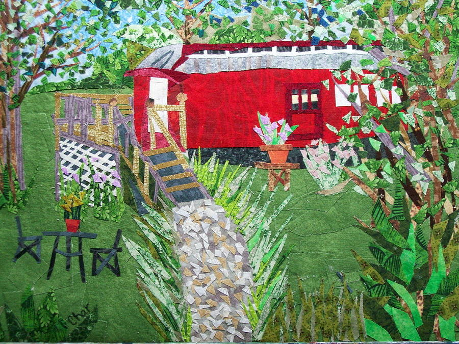 Railroad Tapestry - Textile - Mail Car Guest House At Lacaboose B And B by Charlene White