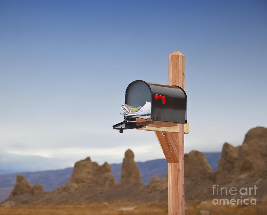 Arid Photograph - Mailbox In Desert by David Buffington