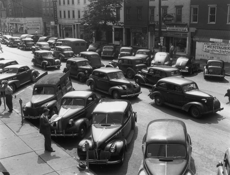 Horizontal Photograph - Main Street Parking by Archive Photos