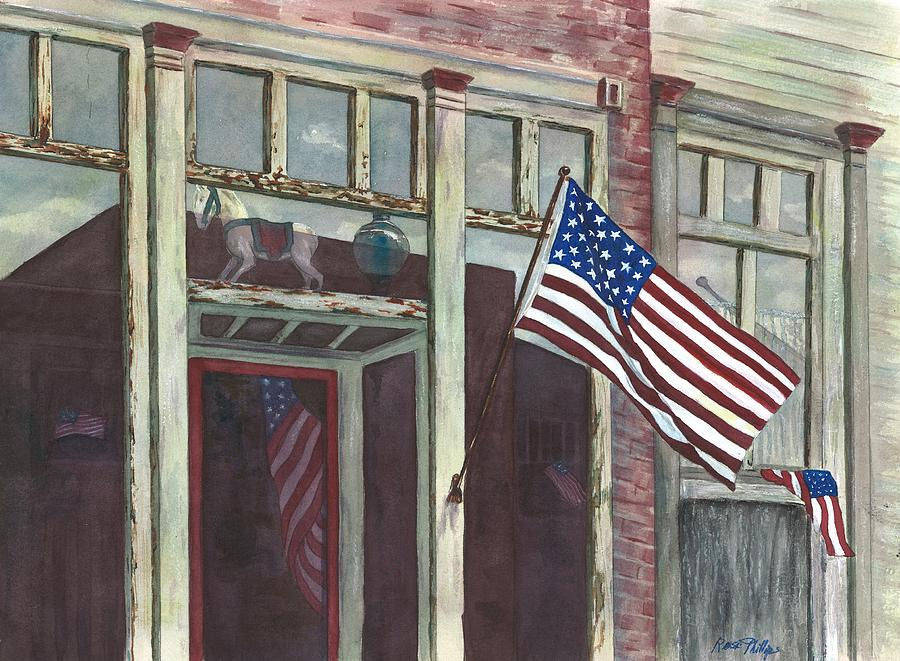 Red Painting - Main Street Usa by Rosie Phillips