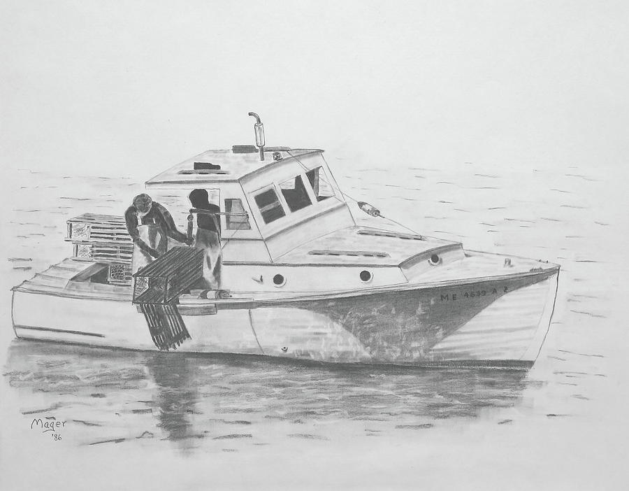 Maine Lobster Boat Painting by Alan Mager