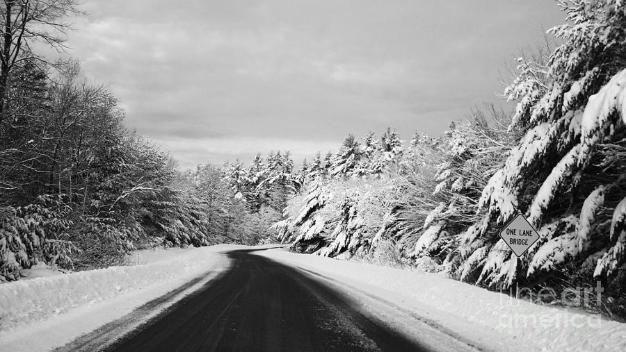 Black And White Photograph - Maine Winter Backroad - One Lane Bridge by Christy Bruna