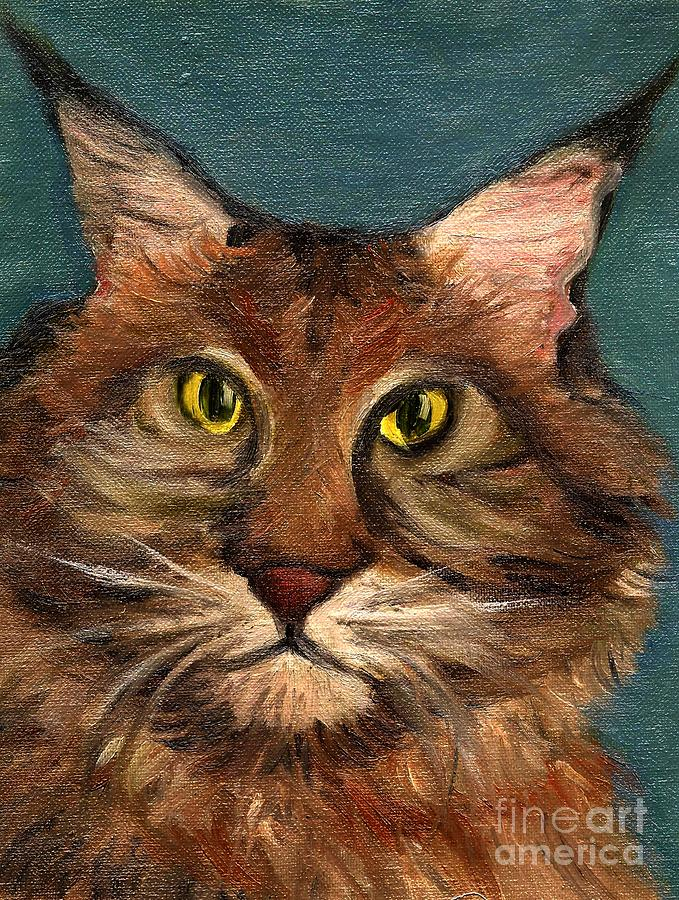 Cat Painting - Mainecoon The Cat by Kostas Koutsoukanidis