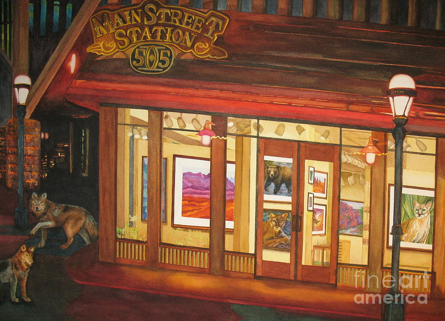 Night Scene Painting - Mainstreet Station by Vikki Wicks