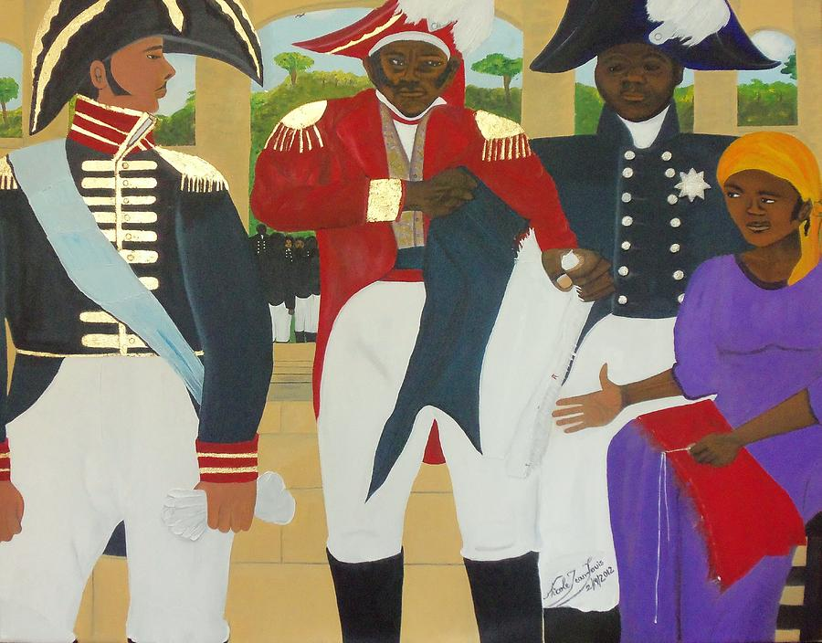 Toussaint L'ouverture Painting - Making Of The Haitian Flag by Nicole Jean-Louis