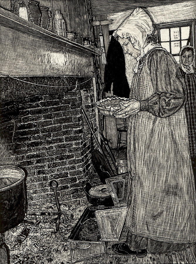 Hearth Drawing - Making Pie by Robert Goudreau