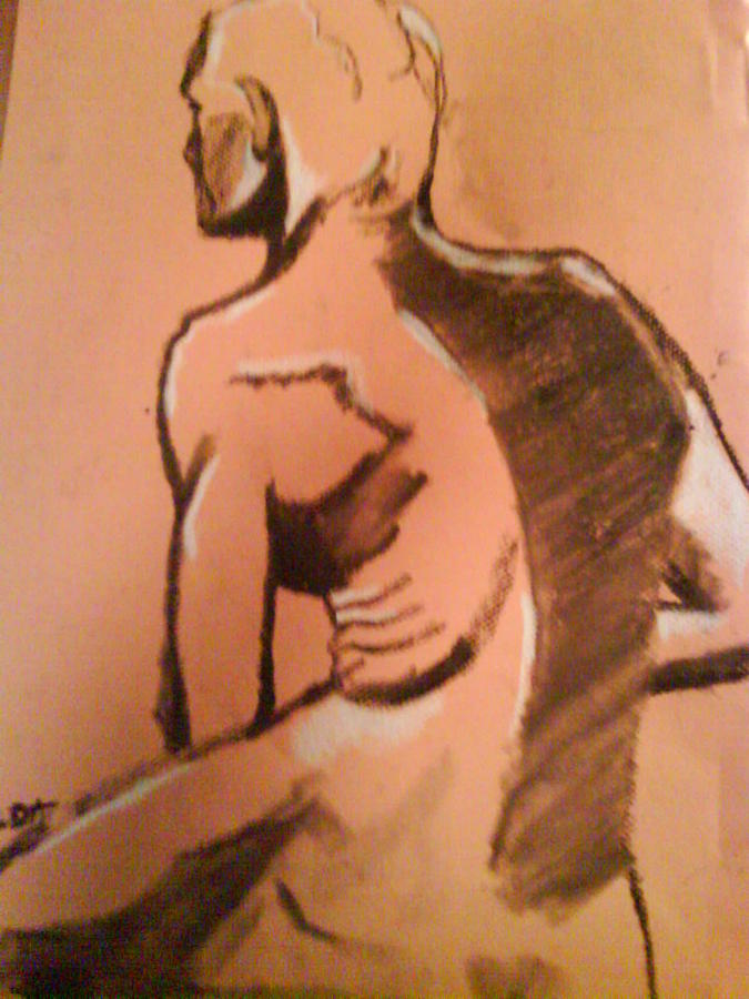 Figurative Drawing - Male Back View Charcoal by Aveda Allen