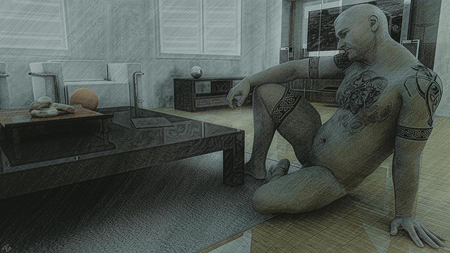 Man Painting - Male Nude Study by Maynard Ellis