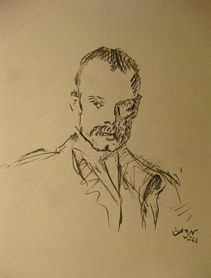 Man Painting - Male Portrait Sketch As A Tribute To Jss by M Zimmerman
