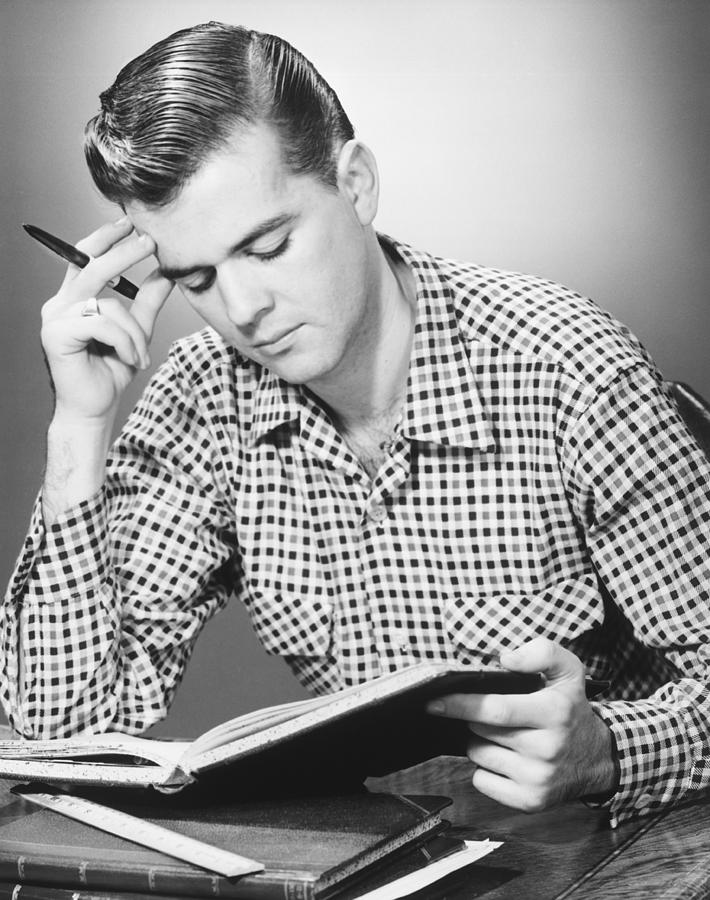 20-24 Years Photograph - Male Student Reading, (b&w), by George Marks