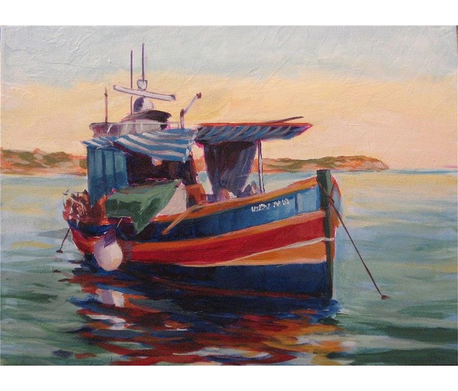 Malta Fishing Boat Painting by Edward Abela