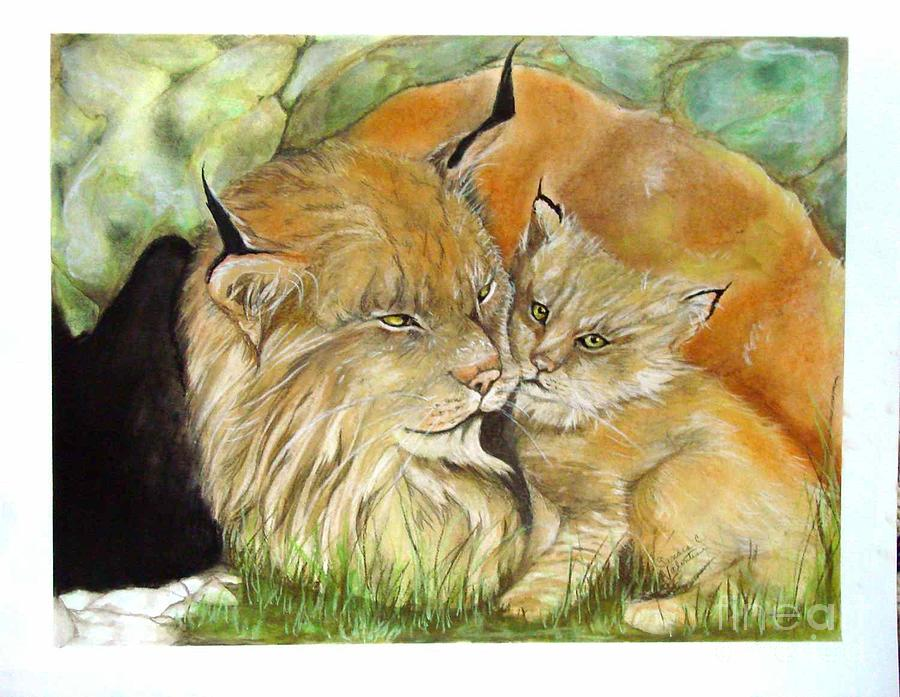 Nature Pastel - Mama And Baby Lynx by Sandra Valentini