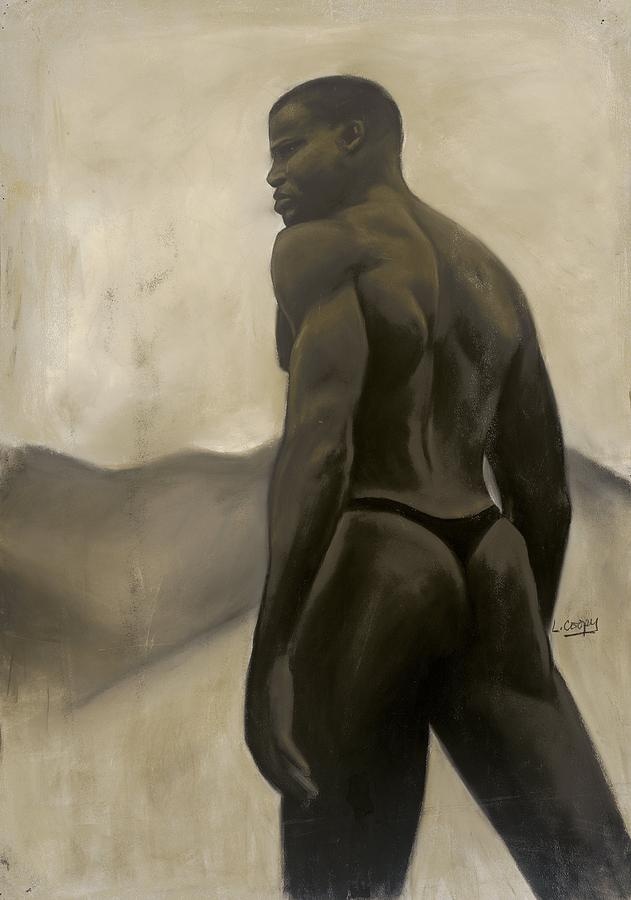 L Cooper Pastel - Man And Mountains by L Cooper
