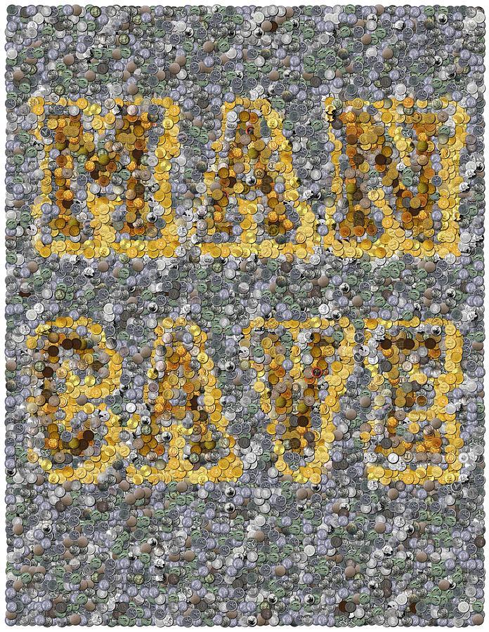 Man Cave Mixed Media - Man Cave Coin Mosaic by Paul Van Scott