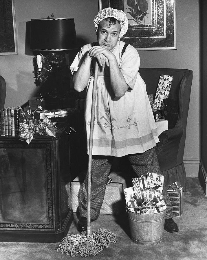 Adult Photograph - Man Dressed As Cleaning Woman In Office by George Marks