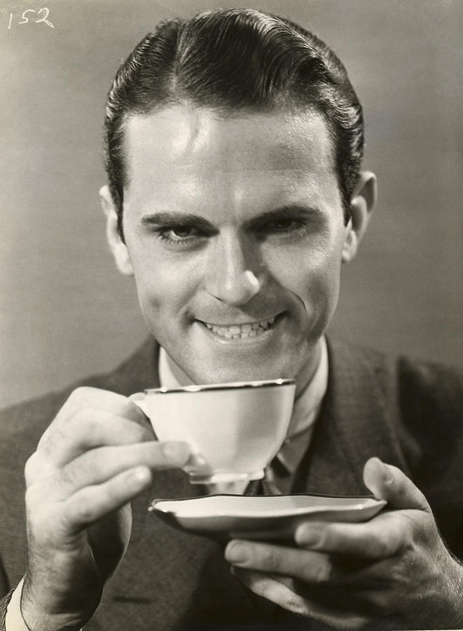 Adult Photograph - Man Drinking Cup Of Coffee by George Marks