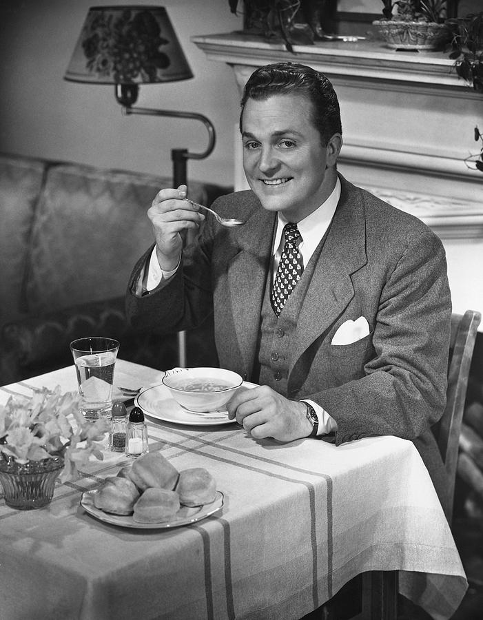 Adult Photograph - Man Having Dinner by George Marks