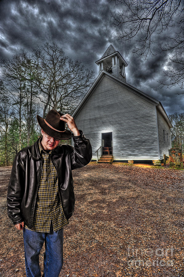 Man In Hat Coming Out Of Church Photograph