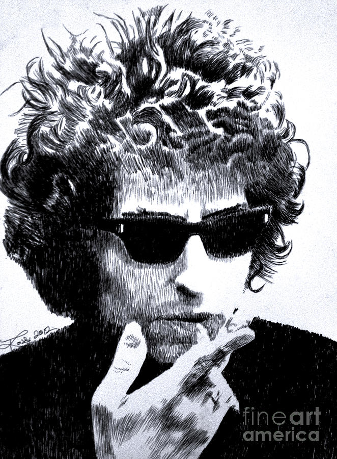 Bob Dylan Drawing - Man In The Long Black Coat by Robbi  Musser