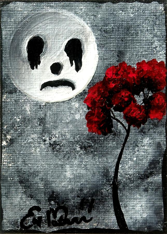 Dark Painting - Man In The Moon by Oddball Art Co by Lizzy Love