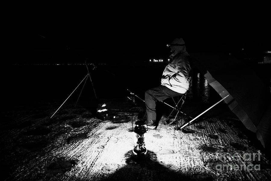 Fishing Photograph - Man Nighttime Fishing by Joe Fox
