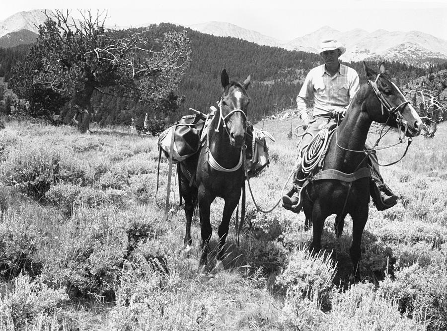 Adult Photograph - Man On Horseback by George Marks