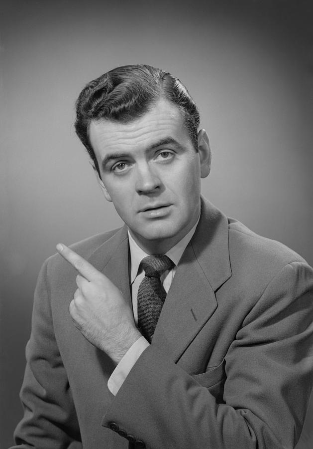 35-39 Years Photograph - Man Pointing Finger, Portrait by George Marks