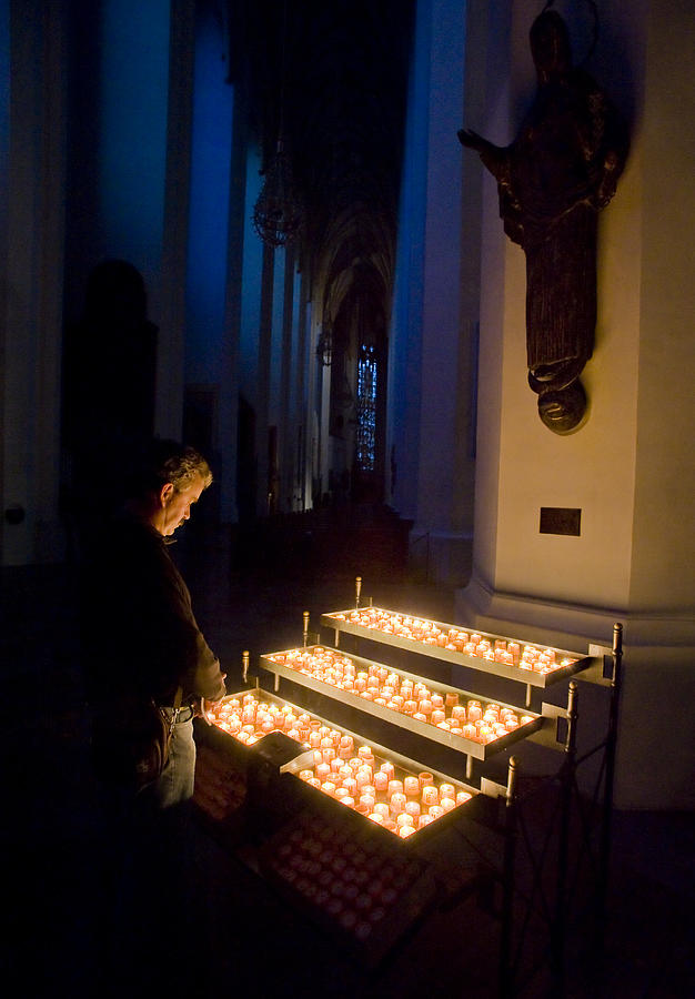 Color Image Photograph - Man Prays By Candles At Frauenkirche by Greg Dale