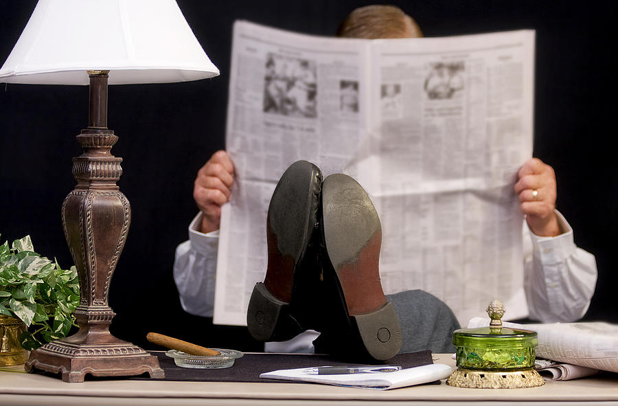 Newspaper Photograph - Man Read Newspaper by Trudy Wilkerson