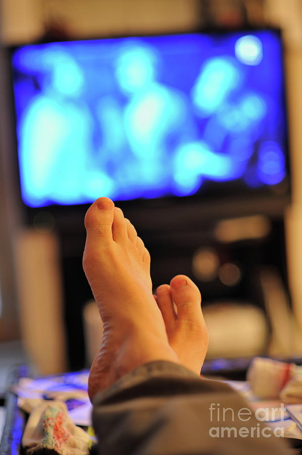 Man Watching Television Feet Up Photograph By Sami Sarkis