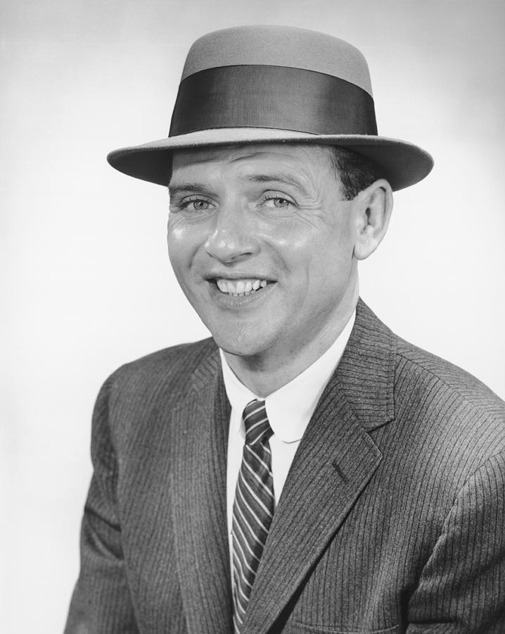 Adult Photograph - Man Wearing Hat, Posing In Studio, (b&w), Portrait by George Marks