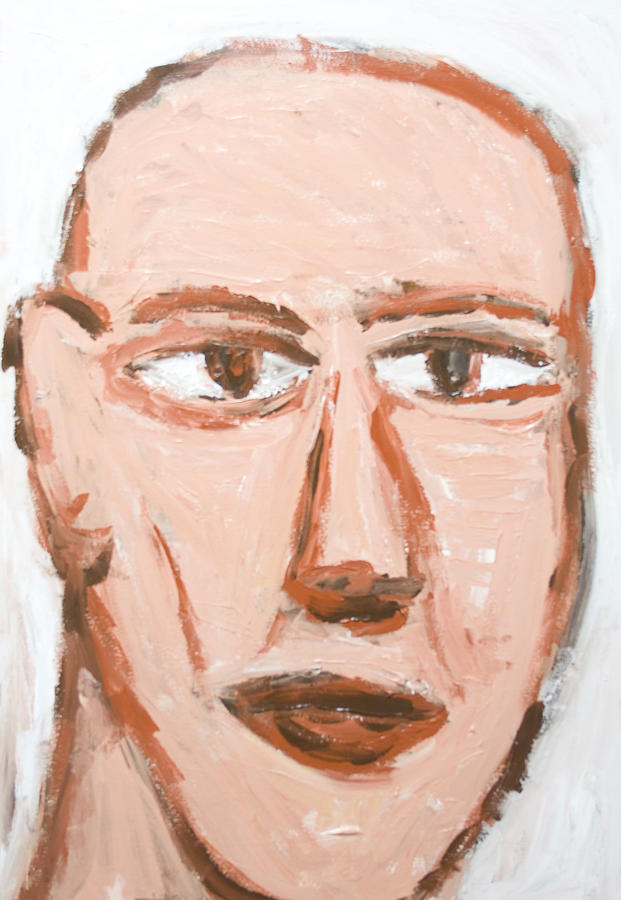 Male Portrait Painting - Man With A Scar On His Face by Kazuya Akimoto