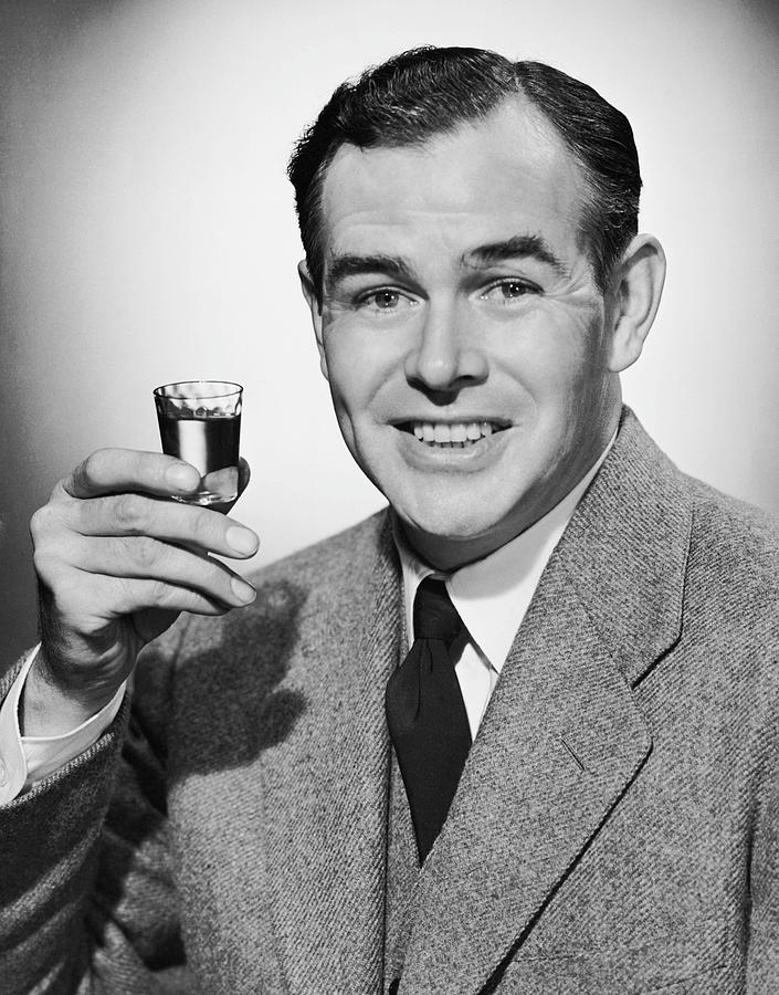 Adult Photograph - Man With Alcoholic Beverage by George Marks