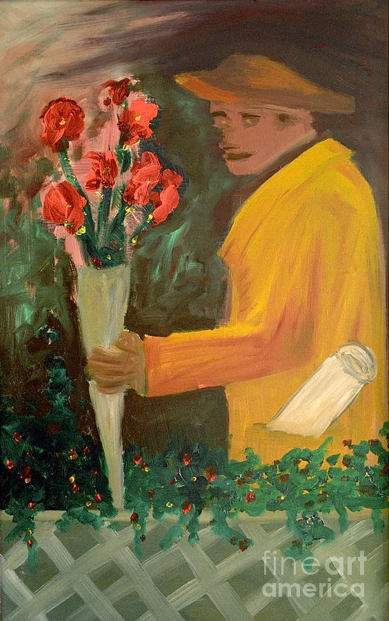 Man Painting - Man With Flowers  by Bruce Stanfield