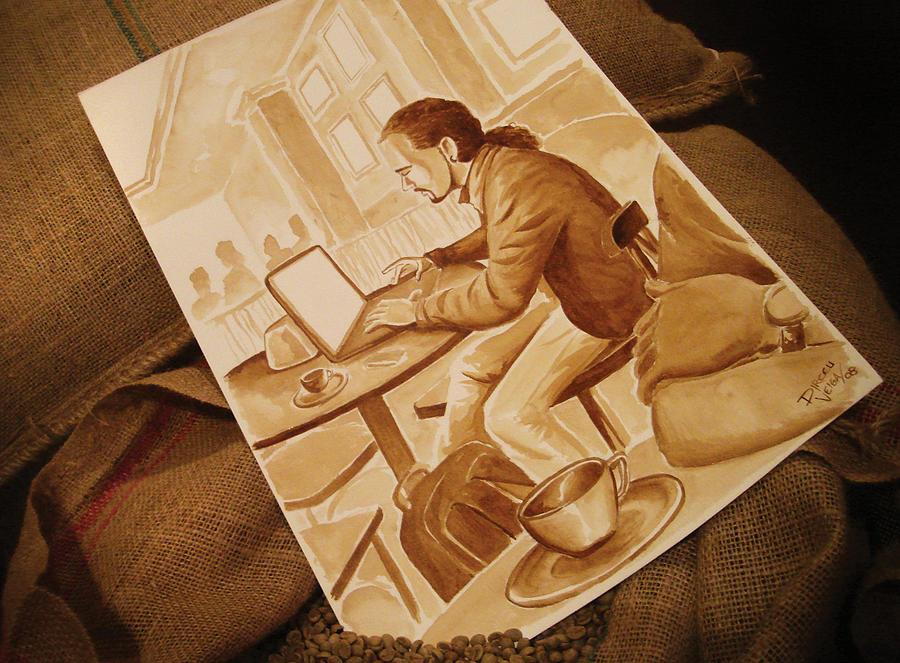 Coffee Painting - Man Working - Coffee Art by Dirceu Veiga