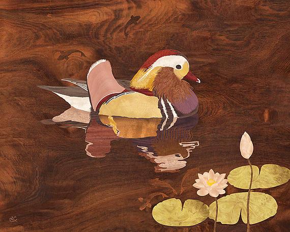 Wood Inlay Mixed Media - Mandarin Duck by Vincent Doan