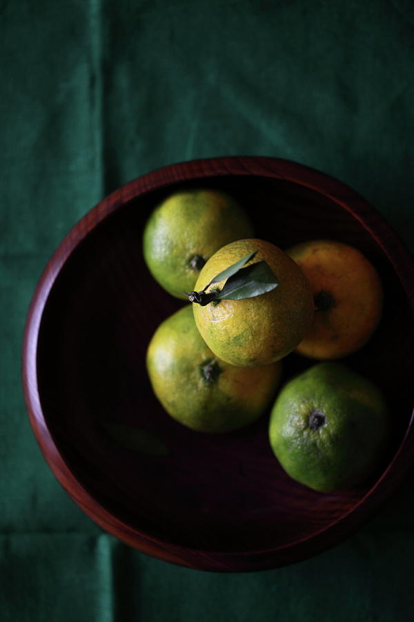 Vertical Photograph - Mandarin Orange In Wooden Bowl by © Miss Snail All right reserved