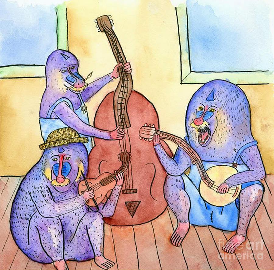 Baboons Painting - Mandrill by Lara Ekblad
